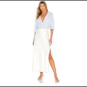 ANINE BING Noel grosgrain-trimmed silk-satin skirt